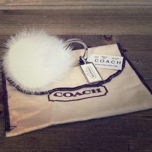 NEW Rare COACH Mink Fur Fob / Keychain - White